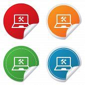 Laptop repair sign icon. Notebook service symbol