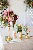 picture of dowry  - Floral arrangement to decorate the wedding feast the bride and groom - JPG