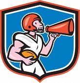 American Football Quarterback Bullhorn Shield Cartoon