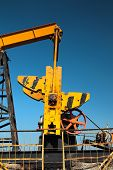 Fragment of oil pump. Oil industry equipment.