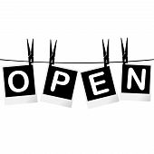 Black And White Open Sign