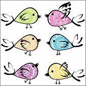 Set Of Colorful Patterned Birds