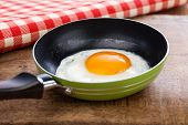Fried Egg In A Pan Served In Retro Style
