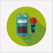 Toy Microphone Flat Icon With Long Shadow