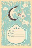 Baby shower invitation.Stork ,newborn baby boy,grunge background