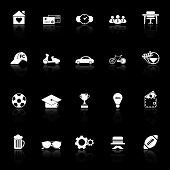 Normal Gentleman Icons With Reflect On Black Background