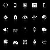 Time Related Icons With Reflect On Black Background