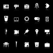 Photography Related Item Icons With Reflect On Black Background
