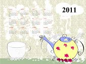 calendar for 2011 with teapot