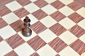 stock photo of wood pieces  - Wooden Chess pieces on wood chess board