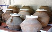 Earthenware jars in a museum