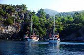 Sailing boats anchored in a bay