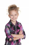 Laughing Little Girl On The White Background