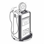 Gasoline Station Pump Isolated On A White Background. Line Art. Retro Design. Vector Illustration.