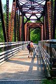 Trail Biker On Bridge