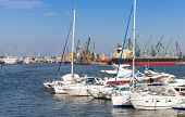 Sailing Yachts And Pleasure Boats Are Moored In Port Of Varna