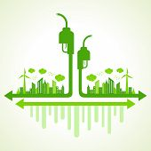 Ecology concept with eco pump - vector illustration