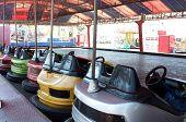 Dodgem cars parked in funfair