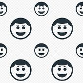 Smile face icon with hairstyle symbol.