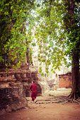 Buddhist Monk At Ancient Ruins Of Wat Mahathat. Ayutthaya, Thailand