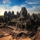 Amazing View Of Bayon Temple At Sunset. Angkor Wat Complex, Siem Reap, Cambodia