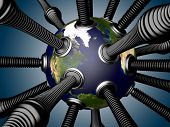 Gas And Oil Pipes Attached To The Planet Earth.