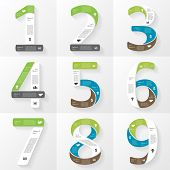 Vector font infographic, diagram, presentation. Numbers 1, 2, 3, 4, 5, 6, 7, 8, 9. Business concept
