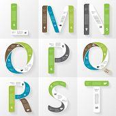 Vector font infographic, diagram, presentation. Letters L, M, N, O, P, Q, R, S, T. Business concept