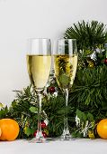 Christmas Goblets With Tangerine Fruits