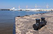 Close Up Of A Bollard In Peterhof Harbor Near Saint Petersburg, Russia