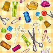 Sewing sketch seamless pattern