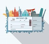 stock photo of world-famous  - Airplane travel ticket with world famous landmarks icons vector illustration - JPG