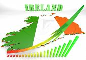 Map Illustration Of Ireland With Flag