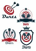 Постер, плакат: Darts sporting emblems