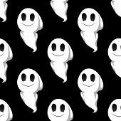 Halloween ghosts seamless pattern background