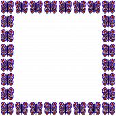 Blue-Red-White Butterfly Pattern Frame
