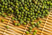 picture of mung beans  - Close up shot of Mung beans or Moong beans