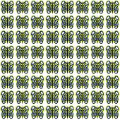 Yellow-White-Blue Small Butterfly Pattern