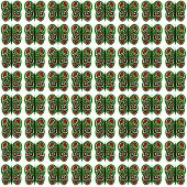 Green-Red-White Small Butterfly Pattern