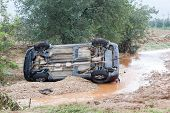 Car Overturned With One Dead From The Flood In Liti Near Thessaloniki, Greece. Several Main Roads In
