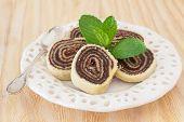 Bolo De Rolo (swiss Roll, Roll Cake) Brazilian Chocolate Dessert With Fresh Mint