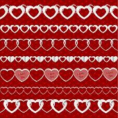 White Seamless Paper Garlands From Hearts Set On Red Seamless Pattern Background