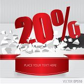 Red 20 Percent Discount On Vector Cracked Ground On White Background