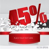 Red 45 Percent Discount On Vector Cracked Ground On White Background