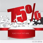 Red 75 Percent Discount On Vector Cracked Ground On White Background