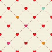 Colorful hearts and dots on beige background.