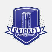 Vintage sticker, tag or label design for Cricket Championship League on grey background.