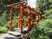 Natural Wooden Bridge in the Cascade Park in Banff, Canada