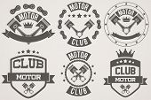 Set of Vintage Motor Club Signs and Label