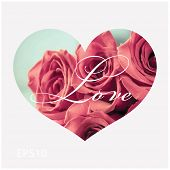 Beautiful Valentine's Day greeting card with word 'Love' written over a red rose background in heart shape. Vector illustration.